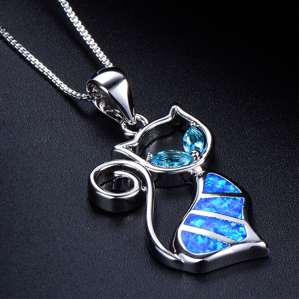 rated product adorable kitty pendant necklace blue opal fire