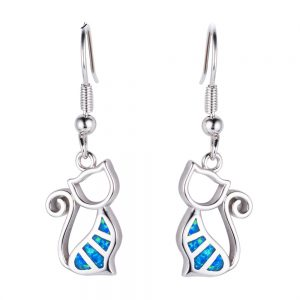 Blue Cat Fire Opal Earings