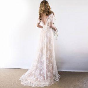 Boho Wedding Dress 2019 V Neck Cap Sleeve Lace Beach Wedding Gown Cheap Backless Custom Made Free Shipping Bride Dresses