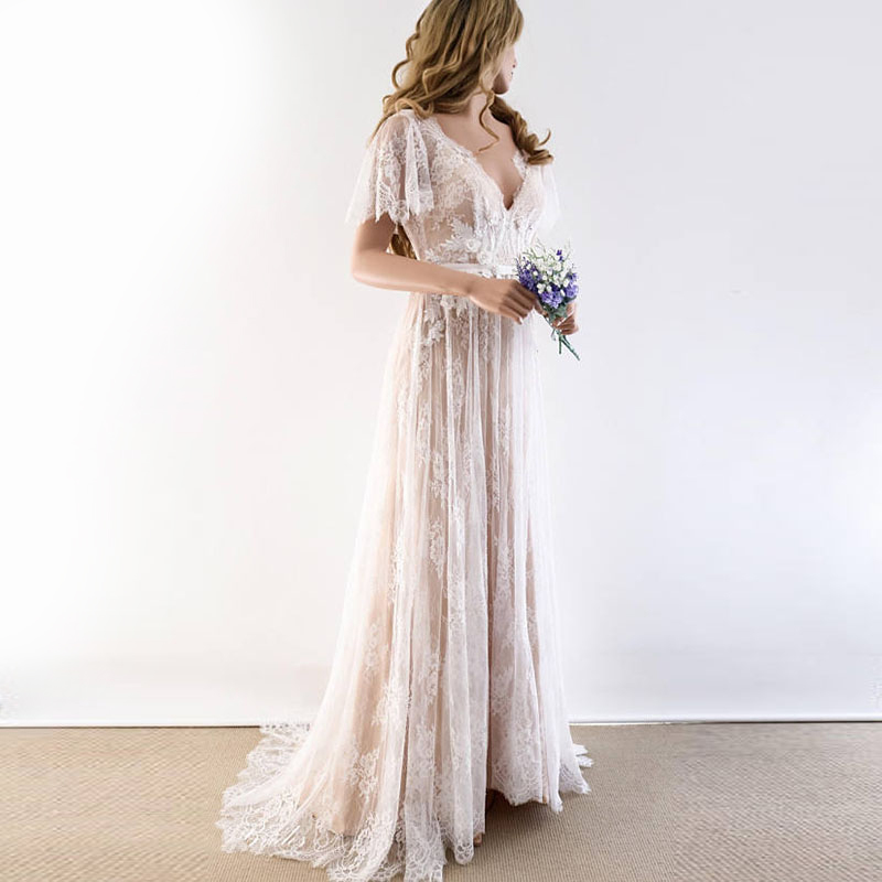Boho Wedding Dress 2019 V Neck Cap Sleeve Lace Beach Wedding Gown Backless Custom Made Free Shipping Bride Dresses