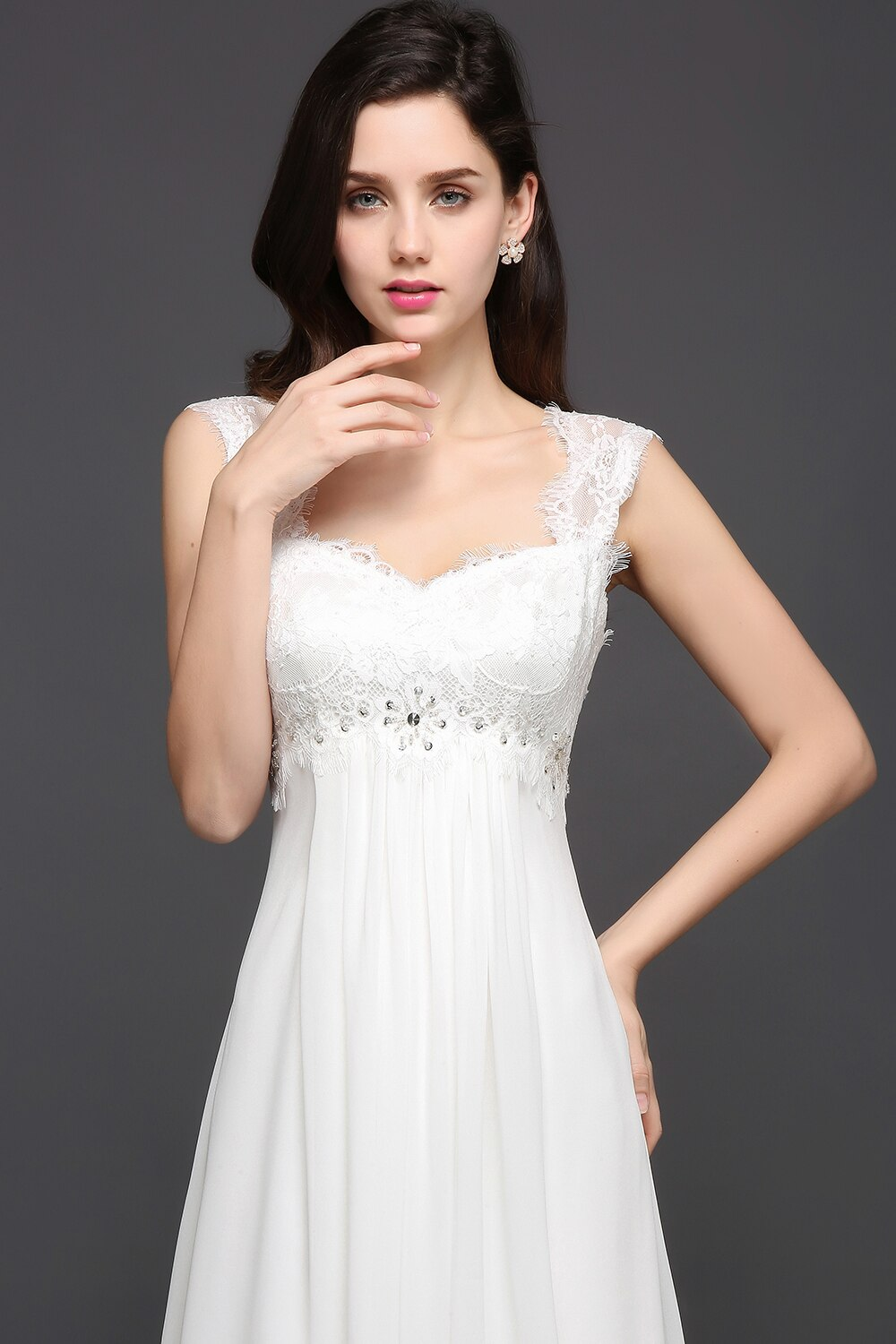 Women's Laced Bridal Dress with Open Back
